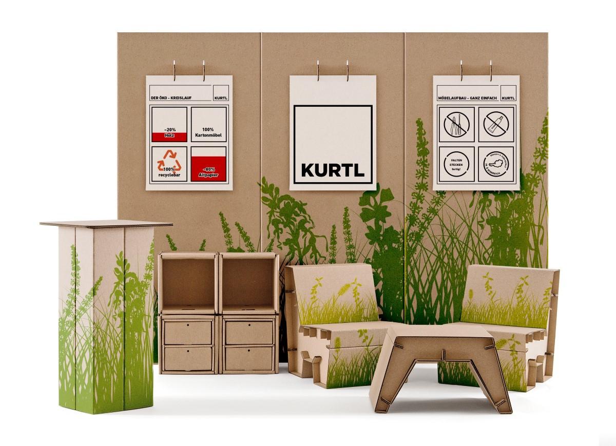 mobiler messestand kurtl m bel aus karton. Black Bedroom Furniture Sets. Home Design Ideas