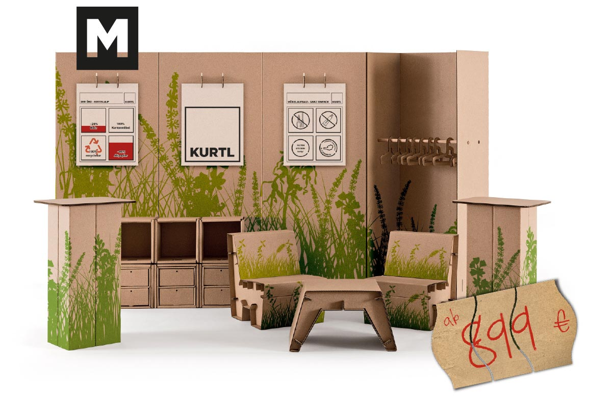 messestand kurtl m bel aus karton. Black Bedroom Furniture Sets. Home Design Ideas